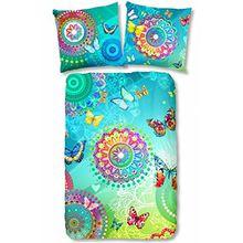 """Hip Satin-Bettwäsche """"Mystic 5112"""" reine Baumwolle Mandalas Ornamente Paisley Schmetterlinge in tollen Sommerfarben im Farbverlauf aqua-blau lemon-grün bunt 135x200 cm + Kissenbezug 80x80 cm"""