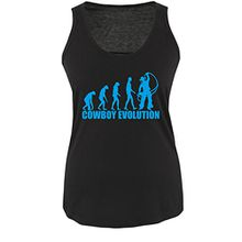 COWBOY EVOLUTION - Damen Tank Top Shirt Schwarz / Blau Gr. L
