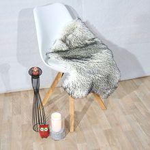 Fell Teppich Schaffell Lammfell Imitat Kunstfell Dekofell MIA bei 30 Grad waschbar aus 100% Polyester (055 x 080 cm Fell, weiss schwarz gepunktet 084)
