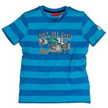 SALT AND PEPPER Jungen T-Shirt Tractor Stripe, Blau (Malibu 448), 116 (Herstellergröße: 116/122)