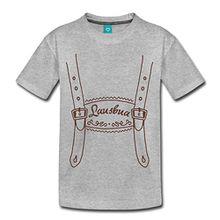 Spreadshirt Lederhose Lausbua Kinder Premium T-Shirt, 98/104 (2 Jahre), Grau meliert