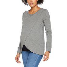 MAMALICIOUS Damen Umstandspullover Mlchristiane Iris L/S Jersey Top NF, Grau (Medium Grey Melange Detail:Melange), 38 (Herstellergröße: M)