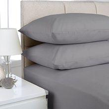 Spannbettlaken aus 100 % ägyptischer Baumwolle, Extratiefe 40cm, silber, Superkingsize