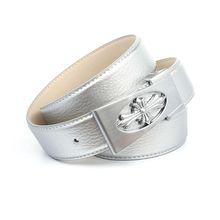 Anthoni Crown 3,4 cm Ledergürtel mit Unterführung in Silber Ledergürtel silber Damen
