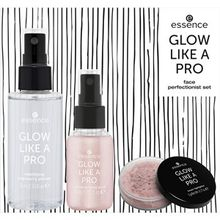 Essence Teint Make-up Glow like a Pro - Rose Sparkles Face Perfectionist Set Mattifying Cranberry Primer 75 ml + Luminizing Fixing Spray 30 ml + Loose Highlighter 5 g 1 Stk.