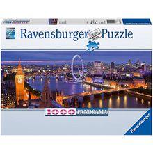 Puzzle 1000 Teile, 98x37 cm, Panorama, London bei Nacht