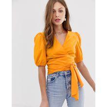 Mango - Orange Wickelbluse mit Taillenband - Orange