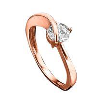 Jacques Lemans Ring 375/- Rotgold mit Zirkonia weiß rosa Damen