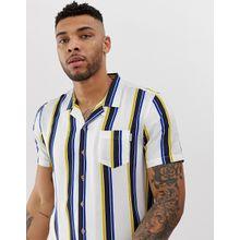Soul Star - Bowler - Kurzärmliges, gestreiftes Hemd mit Reverskragen - Weiß