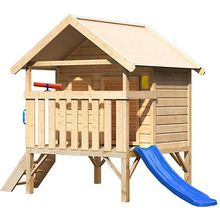 Mini Haus mit Handgriffen, Telefon, Teleskop und Rutsche blau holzfarben