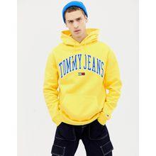 Tommy Jeans - Legerer, gelber Kapsel-Kapuzenpullover im Collegestil - Gelb