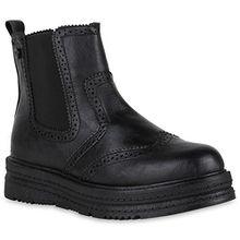 Damen Plateau Boots Chelsea Stiefeletten Leder-Optik Schuhe Profil 150960 Schwarz 40 Flandell