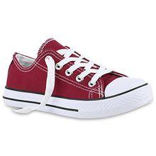 Kinder Sneakers Sport Denim Stoff Schnürer Sneaker Low Turn Schuhe 139987 Dunkelrot 33 Flandell