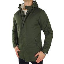 ONLY & SONS Herren Parka onsANZA Mantel Wintermantel Winterjacke Jacket Teddyfell Dick Warm Kapuze Hood (L, Grün (Forest Night))