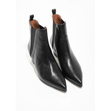 Western Chelsea Leather Boots - Black