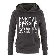 Comedy Shirts - Normal People Scare Me - Damen Hoodie - Schwarz / Weiss Gr. XL