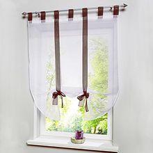 Souarts Braun Transparent Gardine Vorhang Raffgardinen Raffrollo Schlaufenschal Deko für Wohnzimmer Schlafzimmer Studierzimmer 80cmx140cm