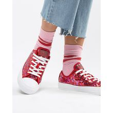 Converse - Chuck Taylor All Star - Sneaker mit rotem Pailletten - Rot