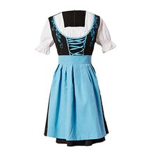 Manfis Trachtenmode Damen Trachtenkleid Dirndl mit Schürze Oktoberfest 2 teilig Schwarz Blau 42