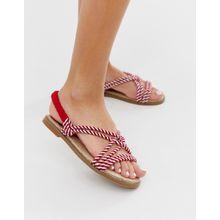 Park Lane - Sandalen mit gestreiften Kordeln - Rot