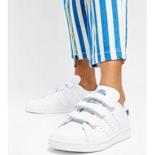 adidas Originals - Stan Smith - Sneaker mit Klettverschluss in Weiß und Blau - Weiß