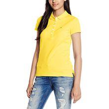 Tommy Hilfiger Damen Poloshirt New Chiara STR PQ Polo SS, Gelb (Sunshine 755), 42 (Herstellergröße: XL)