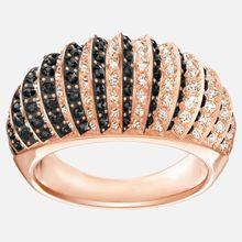 Luxury Domed Ring, schwarz, rosé Vergoldung