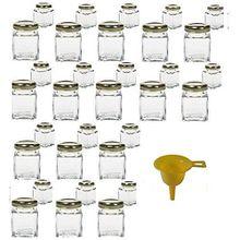 Viva Haushaltswaren 32 x Mini Marmeladenglas/Gewürzglas 50 ml mit goldfarbenem Schraubverschluss, Gläser Set mit Deckel für Gewürze, Konfitüre, Salz etc. verwendbar (inkl. Trichter)