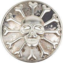 styleBREAKER Totenkopf Magnet Schmuck Anhänger mit Schimmer für Schals, Tücher oder Ponchos, Brosche, Damen 05050047, Farbe:Silber