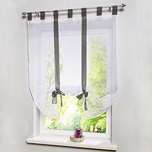 Souarts Grau Transparent Gardine Vorhang Raffgardinen Raffrollo Schlaufenschal Deko für Wohnzimmer Schlafzimmer Studierzimmer 120cmx140cm