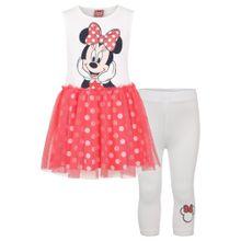 DISNEY Kleid & Leggings 'Disney' hellrot / schwarz / weiß