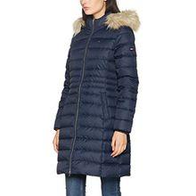 Tommy Jeans Hilfiger Denim Damen Mantel Thdw Basic Coat 3, Blau (Total Eclipse 422), 8 (Herstellergröße: Small)