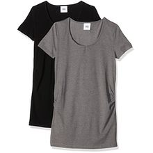 MAMALICIOUS Damen Umstands-T-Shirt Mllea Organic S/S Top 2pack Noos, 2er Pack, Schwarz (Black Pack:Medium Grey Melange), 36 (Herstellergröße: S)