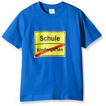 Coole-Fun-T-Shirts Unisex-Kinder T-Shirt Schulanfang, Gr. One Size (Herstellergröße: 128cm), Blau