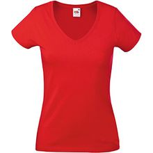 Fruit Of The Loom Lady-Fit Valueweight Damen T-Shirt, V-Ausschnitt M,Rot