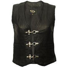 Damen Lederweste, Bikerweste, Motorradlederweste, Clubweste, Chopperweste, Rocker Weste, KUTTE, Vest, Leather Vest, Leather Waistcoat (XXXXXL) (XL)