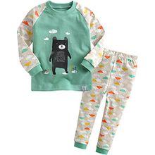 Vaenait Baby Kinder Jungen Nachtwaesche Schlafanzug-Top Bottom 2 Stuck Set Bear Friend L