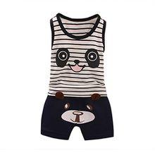 Kleinkind scherzt, Kobay Kleinkind scherzt Baby-Jungen-Panda-T-Shirt Tops + Hosen-Outfit-Kleidung-Satz (S(6M), Marine)