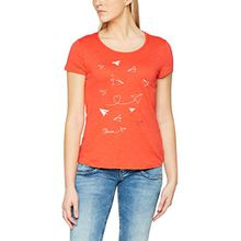 TOM TAILOR Denim Damen T-Shirt Tee with Print, Rot (Strong Red 4479), 38 (Herstellergröße: M)