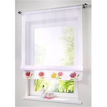 Souarts weiß Transparent Gardine Vorhang Raffgardinen Raffrollo Schlaufenschal Deko für Wohnzimmer Schlafzimmer Studierzimmer 100x155cm