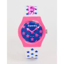 Superdry - SYL168WP - Damenarmbanduhr aus Silikon mit Sternen in Rosa - Weiß