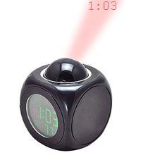 carejoy Wecker LED Wand Deckenleuchte Projektion LCD Digital Voice Talking mit Temperatur Display–Einfache Anwendung Morning Call und Baby Nachtlicht