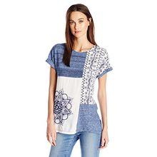 Desigual Damen T-Shirts TS_Sara, Blau (Graystone 5154), XL