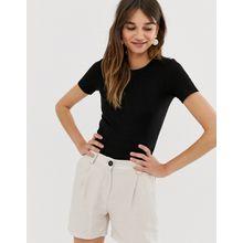 Monki - Schwarzes T-Shirt - Schwarz