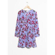 Floral Print Silk Dress - Blue
