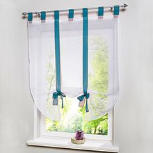 Souarts Blau Transparent Gardine Vorhang Raffgardinen Raffrollo Schlaufenschal Deko für Wohnzimmer Schlafzimmer Studierzimmer 80cmx140cm