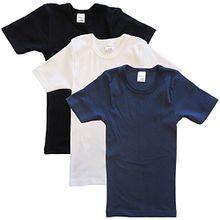 HERMKO 2810 3er Pack Kinder kurzarm Unterhemd für Mädchen + Jungen, Größe:128, Farbe:Mix w/s/m