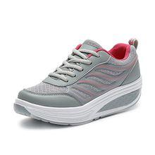 Largeshop Damen Fitnessschuhe Plateau mit Keilabsatz Laufschuhe Breathable Freizeit Laufsohle Schnürschuhe Sneaker