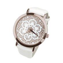 Heine Armbanduhr in Spitzen-Optik rosegold / weiß