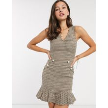 Parisian – Tweed-Kleid mit ausgestelltem Saum und Knöpfen in Perlmuttoptik-Braun